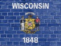 Begrepp för USA-stater: Wisconsin flaggavägg royaltyfria foton