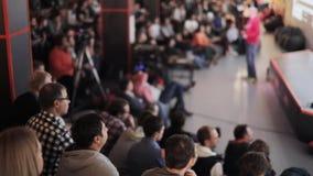 Begrepp för utbildning för kontor för möte för konferens för seminarium för affärsfolk stock video