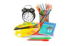 Begrepp för utbildningsworkspacebakgrund Blyertspenna brevpapper, bu Arkivfoton