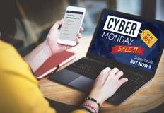 Begrepp för utförsäljning för Cybermåndag Sale rabatt Arkivfoto