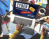 Begrepp för utförsäljning för Cybermåndag Sale rabatt Royaltyfri Bild