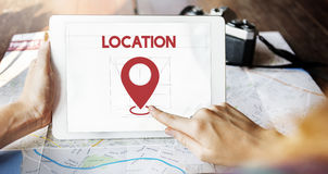 Begrepp för utforskning för destination för lägeriktningsnavigering arkivfoton