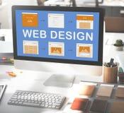 Begrepp för utveckling för Website för arbete för rengöringsdukdesign Arkivfoto