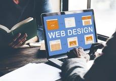 Begrepp för utveckling för Website för arbete för rengöringsdukdesign Arkivfoton