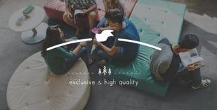 Begrepp för värde för varumärke för kvalitets- märkesprodukt standart fotografering för bildbyråer
