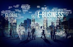 Begrepp för värld för kommers E-affär för global affär online- Arkivbilder