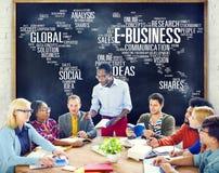 Begrepp för värld för kommers E-affär för global affär online- Arkivfoton