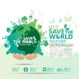 Begrepp för världsmiljö Låt räddningen för ` s vektorillustrationen för världen tillsammans Arkivfoto