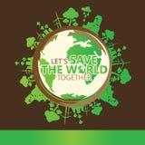 Begrepp för världsmiljö Låt räddningen för ` s vektorillustrationen för världen tillsammans fotografering för bildbyråer