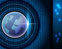 Begrepp för världsnätverksanslutning, elektronisk blå bakgrund och royaltyfri illustrationer
