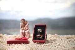 Begrepp för valentindagförälskelse Statyett av att krama för gift par, förälskade par och pre-bröllop bakgrundsbegrepp royaltyfri foto