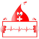 Begrepp för vektor för bloddonation - sjukhus som igen börjar nytt liv Hjärtarytmekg vektor Arkivbild