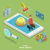 Begrepp för vektor för lägenhet för hotellsökande direktanslutet isometriskt Arkivbild