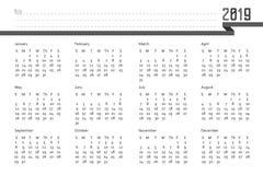 begrepp 2019 för vektor för kalenderdesign redigerbart royaltyfri illustrationer