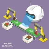 Begrepp för vektor för lära för maskin plant isometriskt Arkivfoto