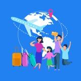 Begrepp för vektor för resa för familjsommarsemester plant stock illustrationer