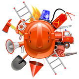Begrepp för vektorbrandförhindrande med hjälmen royaltyfri illustrationer