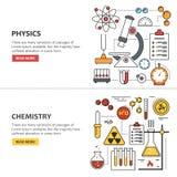 Begrepp för vetenskapsbanervektor i linjen stil Kemi och fysik planlägger beståndsdelar, symboler, symboler royaltyfri illustrationer