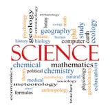Begrepp för vetenskapsordmoln Arkivbild
