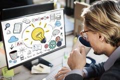 Begrepp för vision för kunskap för kreativitet för planläggningsidéinnovation Arkivfoto