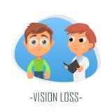 Begrepp för visionförlustläkarundersökning också vektor för coreldrawillustration Royaltyfria Foton