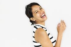 Begrepp för vuxet asiatiskt leende för kvinnor lyckligt fotografering för bildbyråer