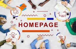 Begrepp för webbläsare för Homepage-Website Blogging Arkivbild