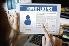 Begrepp för Webpage för applikation för registrering för chaufförlicens Royaltyfri Bild