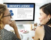 Begrepp för Webpage för applikation för registrering för chaufförlicens Royaltyfri Fotografi