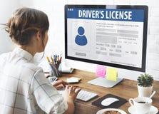 Begrepp för Webpage för applikation för registrering för chaufförlicens Arkivfoto