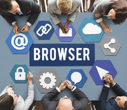 Begrepp för Webpage för information om webbläsareinternetprogramvara Arkivfoton