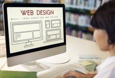 Begrepp för Website för mallorienteringsrengöringsduk UI Fotografering för Bildbyråer