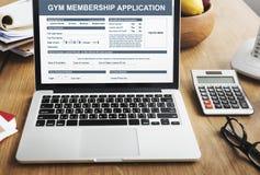 Begrepp för Wellness för idrottshallmedlemskapapplikation arkivfoto