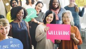Begrepp för Wellness för WellbeingPositivityMindset tänkande royaltyfria foton