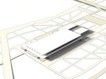 begrepp för wireframe 3D av byggnad Arkivbild