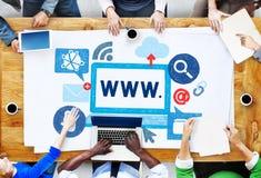 Begrepp för world wide webinternetonline-illustration arkivfoton