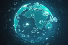 Begrepp f?r global aff?r och n?tverks stock illustrationer