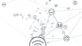 Begrepp f?r globalt n?tverk IoTInternet av saker ICTInformation kommunikationsn?tverk Nätverk av fysiska apparater vektor illustrationer