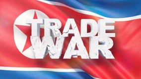 Begrepp f?r handelkrig Sprucken text på flagga av Nordkorea illustration 3d royaltyfri illustrationer