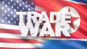 Begrepp f?r handelkrig Sprucken text på flagga av USA och Nordkorea illustration 3d vektor illustrationer