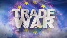 Begrepp f?r handelkrig Sprucken text p? flagga av europeisk union illustration 3d stock illustrationer