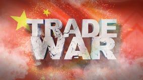Begrepp f?r handelkrig Sprucken text p? flagga av Kina illustration 3d royaltyfri illustrationer