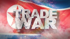 Begrepp f?r handelkrig Sprucken text p? flagga av Nordkorea illustration 3d stock illustrationer