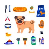 Begrepp f?r ?lsklings- omsorg Gulligt mops- och hundomsorggods på vit bakgrund Hundomsorg som ansar, hygien, hälsa ?lsklings- sho vektor illustrationer