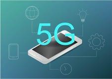 begrepp f?r teknologi 5G Kan anv?nda f?r reng?ringsdukbanret, infographics Plan isometrisk vektorillustration Realistisk telefon  stock illustrationer