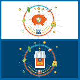 Begrepp för affärsanalys, online-shopping, mobil marknadsföring, finansiell strategi Arkivfoto