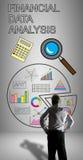 Begrepp för analys för finansiella data som hålls ögonen på av en affärsman Royaltyfri Foto