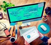 Begrepp för analys för tillväxt för finans för idéer för besparingförsäkringplan Arkivbild