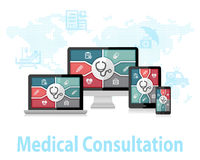 Begrepp för design för doktor Apps Responsive Web för medicinsk konsultation online- Arkivfoto