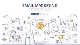 Begrepp för Emailmarknadsföringsklotter Arkivfoto